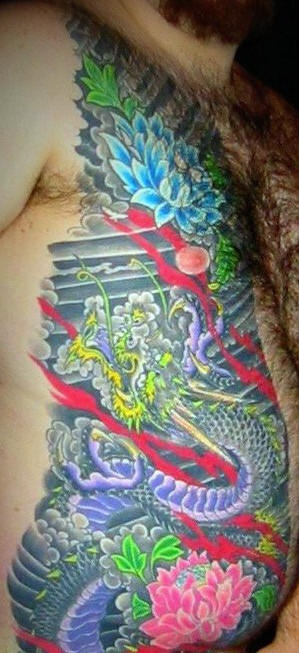 Asian side tattoo, bright, picturesque nature, flowers